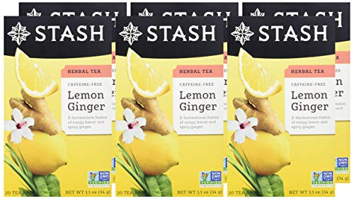 Stash Tea Lemon Ginger Herbal Tea 20 Count Box of Tea Bags Individually Wrapped in Foil (Pack of 6), Premium Herbal Tisane, Citrus-y Warming Herbal Tea, Enjoy Hot or Iced