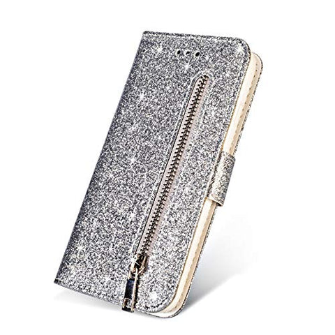 elecfan iPhone 11 6.1 Case, Smart Stand Cover Magnetic Wallet Case Folio Flip Protector Case Zipper Cover Card Slots Holder Cover for 2019 iPhone 11/11R/XIR 6.1 inch - Silver