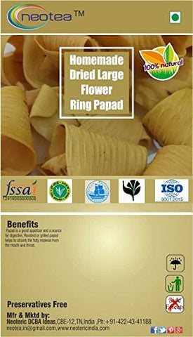 Neotea Homemade Dried Papad/Pappad/Papadum/Appalam 250g (Large Flower Ring Papad)