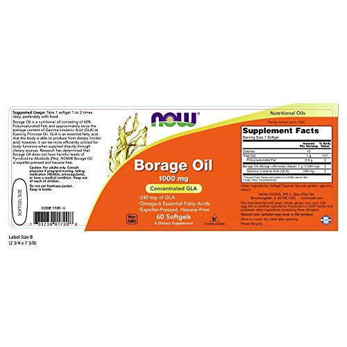 Now Supplements, Borage Oil 1000 Mg With 240mg Of Gla (Gamma Linolenic Acid), 60 Softgels