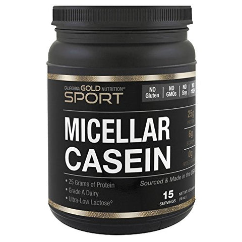 California Gold Nutrition Micellar Casein Protein, Unflavored, Slow Absorption, 16 oz (454 g)