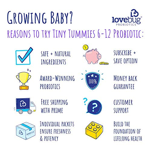 Lovebug Probiotics Tiny Tummies Probiotics, 30 Packets, Infant & Baby Probiotic Supplements For Babi