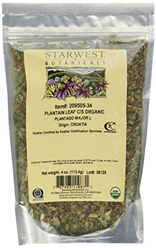Starwest Botanicals Organic Plantain Leaf Cut & Sifted, 4 Ounces