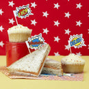 Image of Ginger Ray 20 x Pop Art Superhero Food Flag Toppers for Birthday Cake Decoration, Mixed