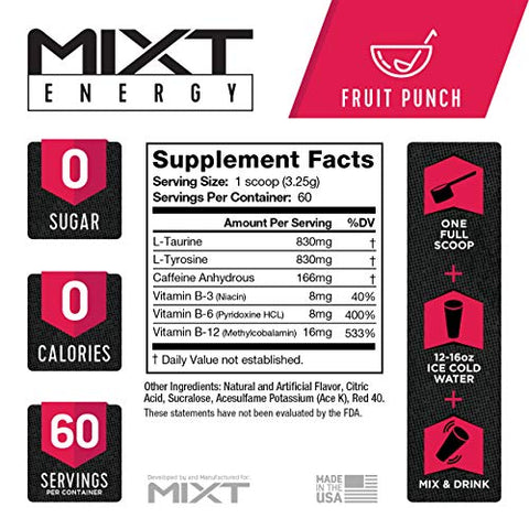 MIXT Energy Supplement, Designed for Energy and Focus, 8 Hour Energy Drink, No Sugar, No Calories, Awesome Taste, Gaming Energy, Keto Approved (60 Servings, Fruit Punch)