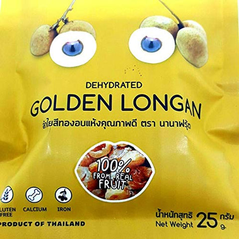 (Pack of 6) NANA Fruit Dehydrated Golden Longan 100% from Real Fruit 25G. No added sugar