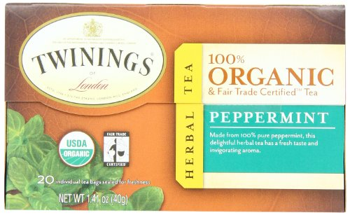 Twinings Of London Organic And Fair Trade Certified Peppermint Tea Bags, 20 Count (Pack Of 6)