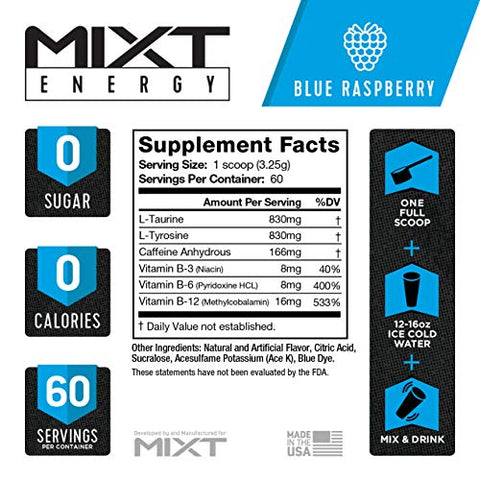 MIXT Energy Supplement, Designed for Energy and Focus, 8 Hour Energy Drink, No Sugar, No Calories, Awesome Taste, Gaming Energy, Keto Approved (60 Servings, Blue Raspberry)