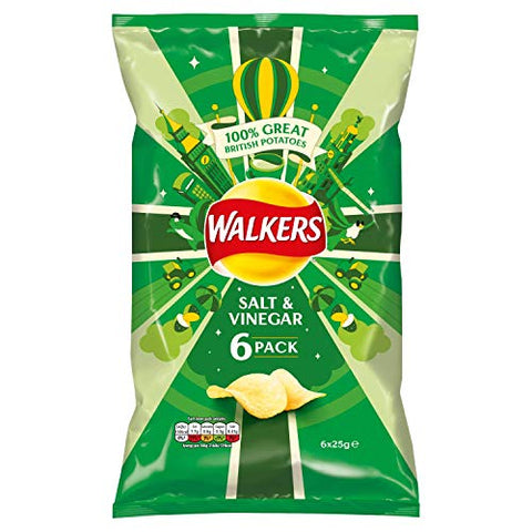 Walkers Crisps Salt Vinegar 6-Pack 18 x 6 x 25g
