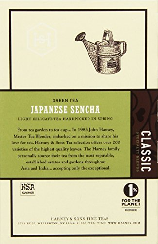 Harney & Sons Green Tea, Japanese Sencha, 20 Sachets, Pack of 6