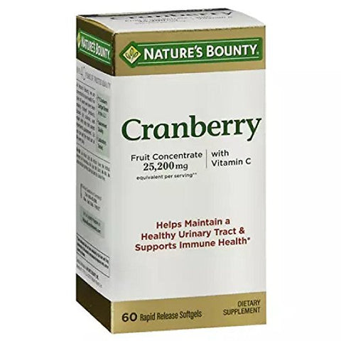 Nature's Bounty Cranberry Dietary Supplement 60 Soft Gels (Pack of 4)