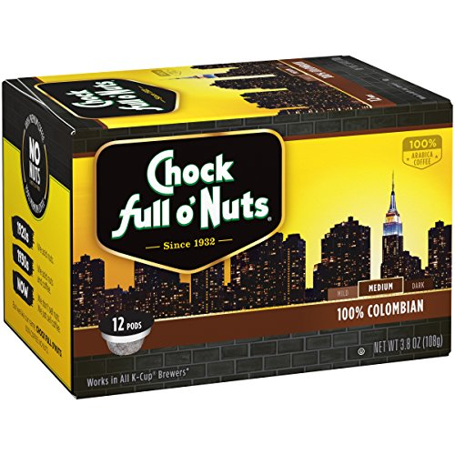 Chock Full Oâ??Nuts 100% Colombian Medium Roast, K Cup Compatible Pods (12 Count)   100% Premium Ara