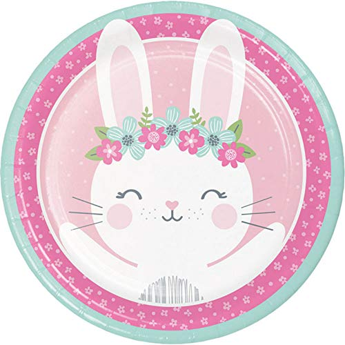 "Creative Converting Party Supplies, Bunny Party Paper Plates, Plate Dinner, Multicolor, 8.75"", 8ct"