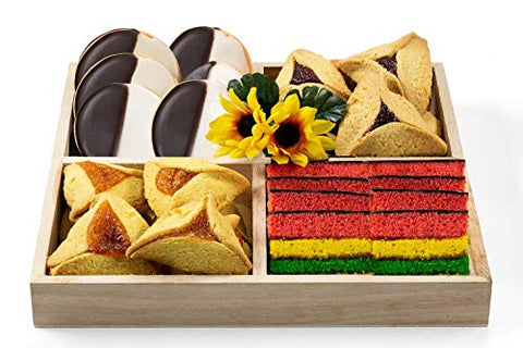 Green's Four Square Cookie Gift Tray with Kosher Hamentaschen, Rainbow Cookies