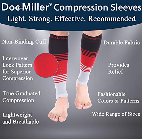 Doc Miller Premium Calf Compression Sleeve Dress Series 1 Pair 20-30mmHg Strong Calf Support Graduated Pressure Sports Running Recovery Shin Splints Varicose Veins (BlackRedGray, X-Large)
