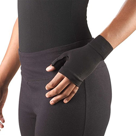 Truform Lymphedema Compression Gauntlet, 20-30 mmHg Post Mastectomy Support, Black, Medium