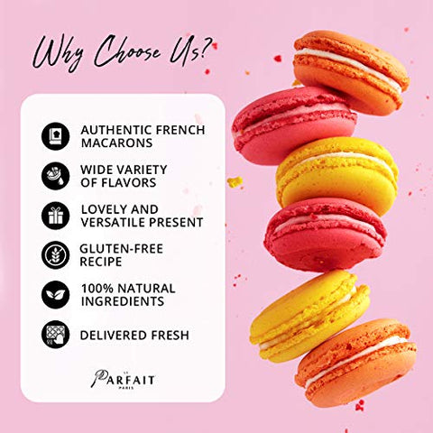 Le Parfait Paris Macaron Fruit Box - Heavenly Gourmet French Meringue-Based Dessert Set - Baked and Delivered Fresh - Delicious Luxury Dessert, Party Favor and Sweet Snack - Pack of 24 Fruity Macarons