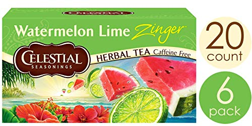Celestial Seasonings Herbal Tea, Watermelon Lime Zinger, 20 Count (Pack Of 6)