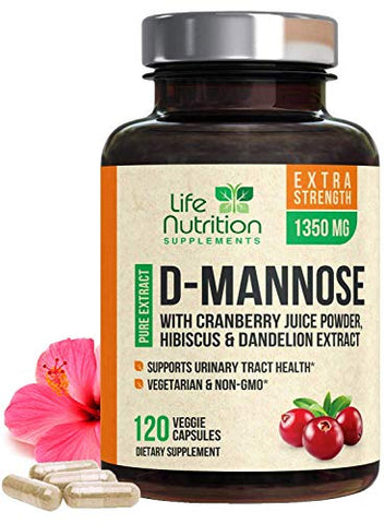 D-Mannose Capsules with Cranberry - Extra Strength, 1350mg Fast-Acting, Natural Urinary Health Support, Includes Dandelion & Hibiscus - Made in America for Men & Women - 120 Capsules