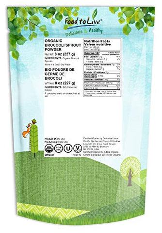Organic Broccoli Sprouts Powder, 8 Ounces  Grown from Non-GMO Seeds, Kosher, Non-Irradiated, Pure, Vegan Superfood, Bulk, Rich in Sulforaphane