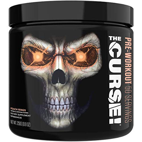 JNX Sports The Curse! Pre Workout Supplement - Intense Energy & Focus, Instant Strength Gains, Enhanced Blood Flow - Nitric Oxide Booster with Creatine & Caffeine - Men & Women | Peach Rings | 50 SRV