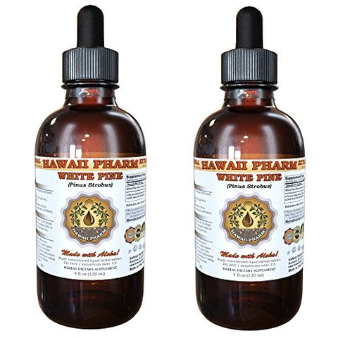 White Pine Liquid Extract, White Pine (Pinus Strobus) Bark Powder Tincture, Herbal Supplement, Hawaii Pharm, Made in USA, 2x4 fl.oz