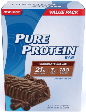Pure Protein Chocolate Deluxe High Protein Bar 4 Boxes 6 Bars Each - Discounted Pack- 24 Bars