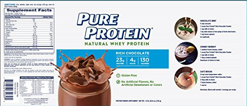 Pure Protein Powder, Natural Whey, High Protein, Low Sugar, Gluten Free, Rich Chocolate, 1.6 lbs