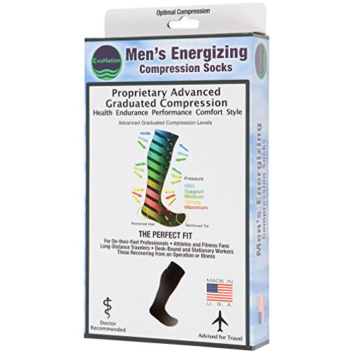 3 Pair EvoNation Men's Copper USA Made Graduated Compression Socks 20-30 mmHg Firm Pressure Medical Quality Knee High Orthopedic Support Stockings Hose - Comfort, Circulation, Travel (Medium, Black)