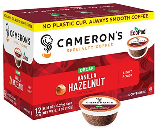 Cameron's Coffee Single Serve Pods, Flavored, Decaf Vanilla Hazelnut, 12 Count (Pack of 6)