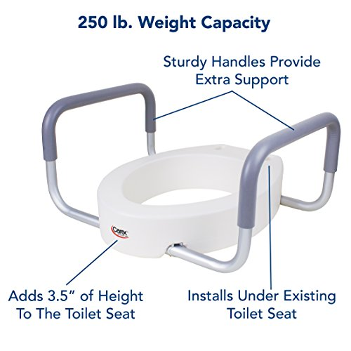 Carex 3.5 Inch Raised Toilet Seat With Arms   For Elongated Toilets   Elevated Toilet Riser With Rem