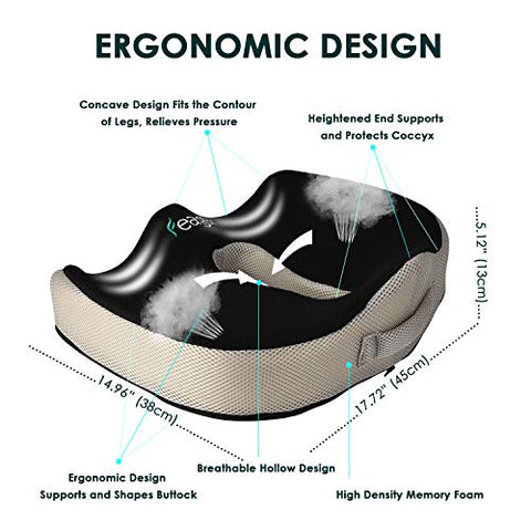 Seat Cushion,Feagar Memory Foam Chair Pad/Coccyx Pillow for Car Seat,Office/Computer Chair and Wheelchair,Orthopedic Breathable+Ergonomic for Sciatica,Tailbone Pain Relief