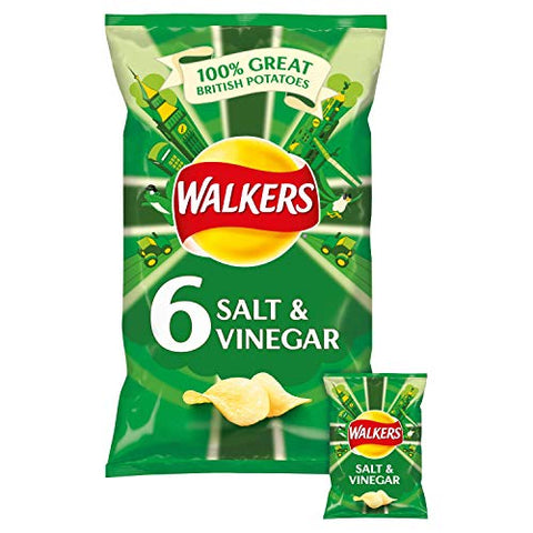 Walkers Salt & Vinegar Crisps 25g x 6 per pack