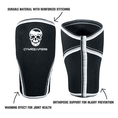 Gymreapers Knee Sleeves (1 Pair) Free Gym Bag - Knee Sleeve & Compression Brace for Squats, Fitness, Weightlifting, and Powerlifting 7MM Sleeve Pair - for Men & Women - 1 Year Warranty (Small)