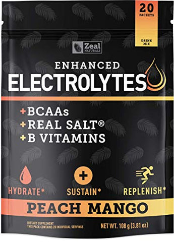 Enhanced Electrolyte Powder (Peach Mango 20pk.) Sugar Free + BCAA, B-Vitamins & Real Salt - Keto Electrolytes Drinks, Hydration Powder w Potassium, Sodium, Zinc, Magnesium for Hydration & Recovery