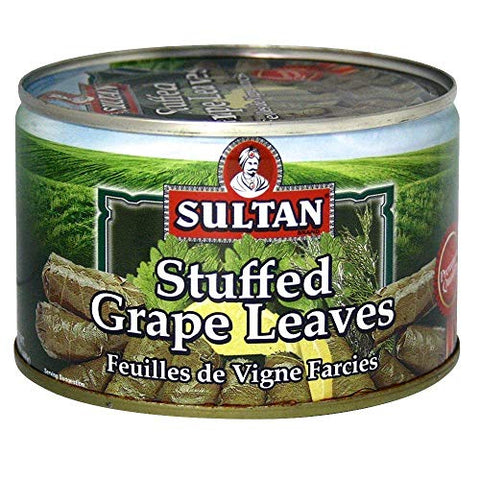 Sultan vegetarian Stuffed Grape Leaves, Precooked Premium Dolma, Dolmades. Perfect for Mezze platter, Serve hot or Cold, Appetizer or Entree! 14 oz