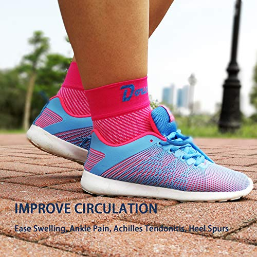 Dowellife Plantar Fasciitis Socks, Ankle Brace Compression Support Sleeves & Arch Support, Foot Compression Sleeves, Ease Swelling, Achilles Tendonitis, Heel Spurs for Men & Women (Pink M)