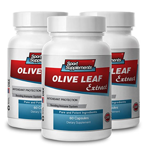 Olive Leaf Extract Powerful Antioxidant, Immune System Health 500mg (3 Bottles, 180 Capsules)
