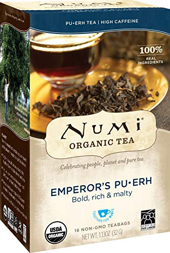 Numi Organic Tea Emperor's Pu-erh, Full Leaf Black Pu-erh Tea, 16 Count non-GMO Tea Bags, Net WT. 1.13 oz (Pack of 6)