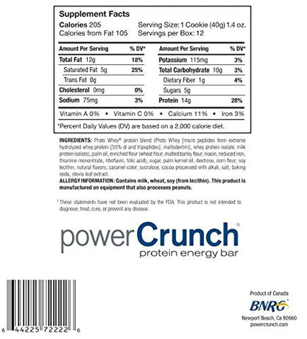 Power Crunch Protein Energy Bar Original Cookies Creme (12 Bars)