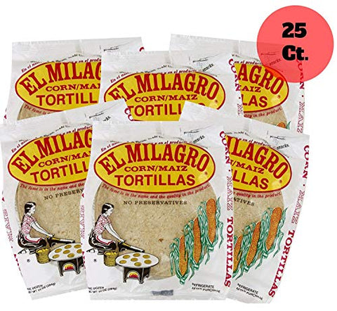 El Milagro Classic Corn Maiz Natural Soft Tortillas - 25 Pack