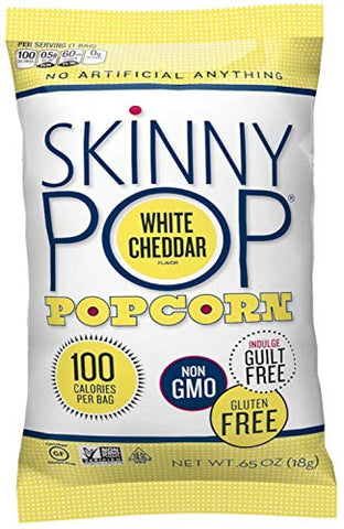 Skinny Pop Popcorn 10 Pack .65 oz Original & White Cheddar 100 Calorie Bag Variety