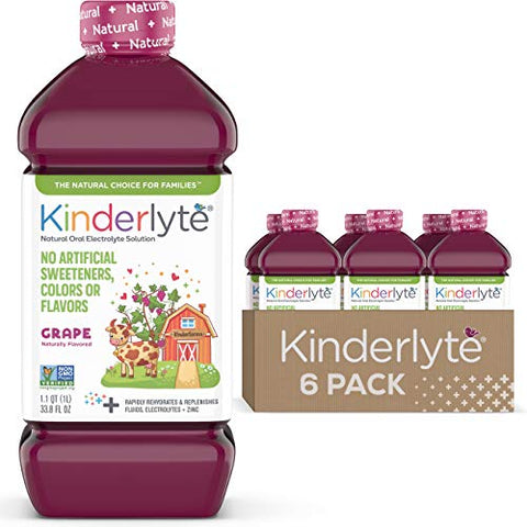 Kinderlyte | Natural Pediatric Electrolyte Solution | Doctor-Formulated for Rapid Rehydration | No Artificial Sweeteners, Colors or Flavors | Kid-Friendly Taste | 6pk of 1L Bottles | Grape