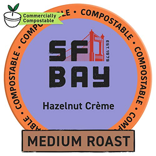 Sf Bay Coffee Hazelnut Crã¨Me 120 Ct Flavored Medium Roast Compostable Coffee Pods, K Cup Compatible