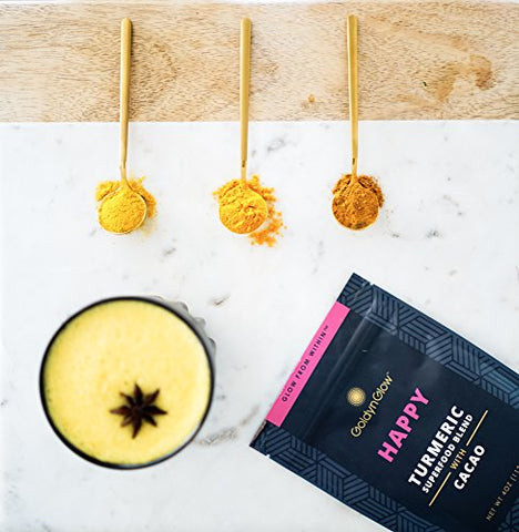 GoldynGlow HAPPY - Organic Turmeric Superfood Blend w/ CACAO to Help Bliss, Boost Mood, and Support Joint Health. Golden Milk Elixir, Healthy Hot Chocolate. Non-GMO, Vegan, Gluten-Free - 25 Servings