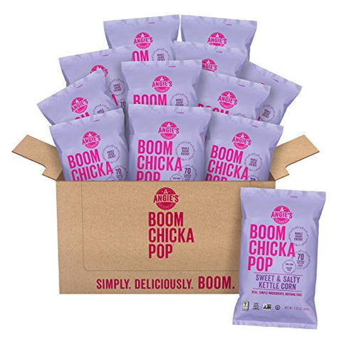 Angie's BOOMCHICKAPOP Sweet & Salty Kettle Corn Popcorn, 2.25 Ounce Bag (Pack of 12 Bags)