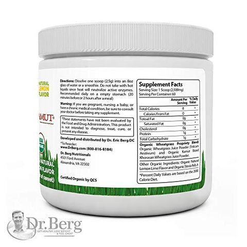 Dr. Berg's Organic Raw Wheat Grass Juice Powder With Kamut Tm   Natural Lemon Flavor   Rich In Vitami