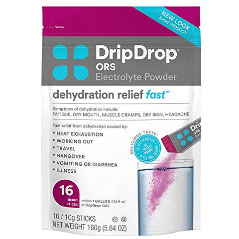 DripDrop ORS - Patented Electrolyte Powder For Dehydration Relief Fast - For Workout, Sweating, Illness, & Travel Recovery - Berry - 16 x 8oz Servings