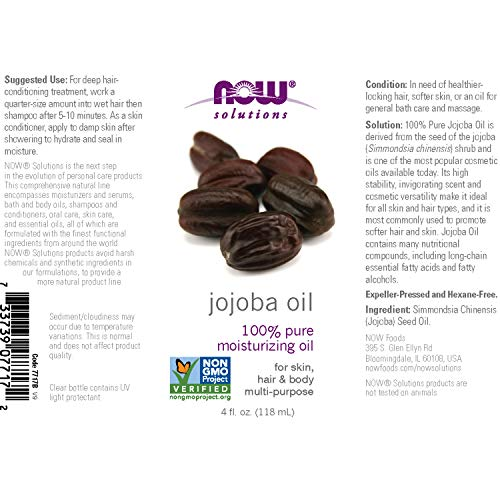 Now Solutions, Jojoba Oil, 100% Pure Moisturizing, Multi Purpose Oil For Face, Hair And Body, 4 Ounc