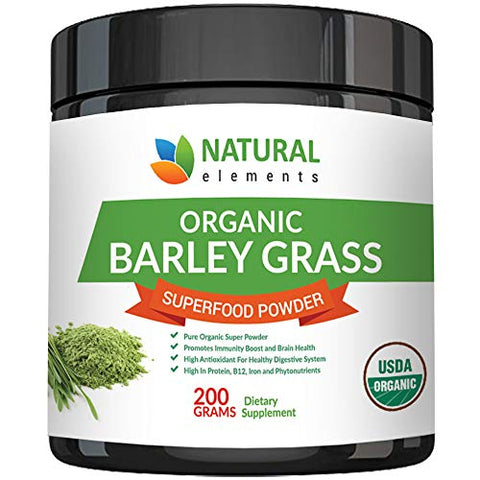 Barley Grass Powder - USDA Certified Organic Barley Grass Powder - Non-GMO, Vegan, and Non-Irradiated - Rich In Antioxidants, Protein, Fiber, Minerals, Chlorophyll, Amino Acids and Protein - 200 Grams